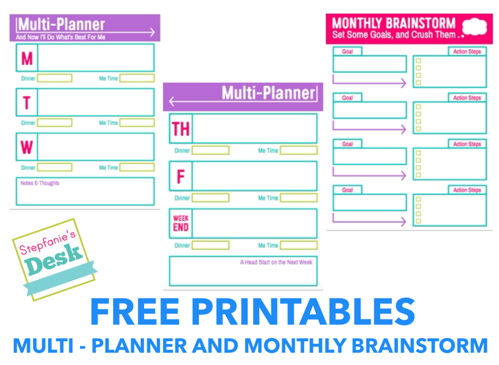 Free Printable Download: Multi-Planner & Monthly Brainstorm